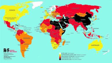 Weltkarte 2020 Pressefreiheit