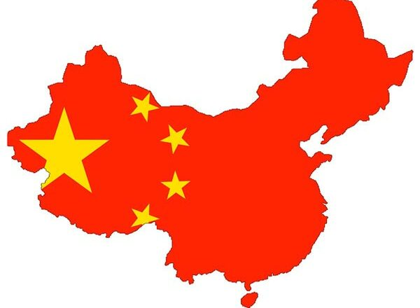 China Flagge Karte