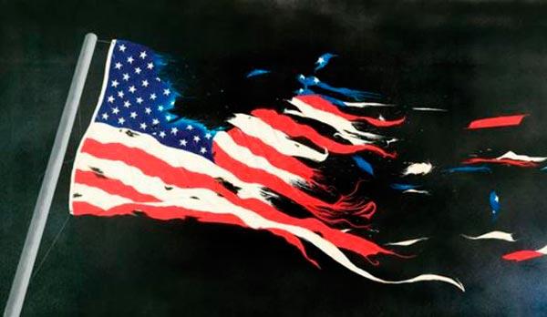 Zerfetzte Flagge USA