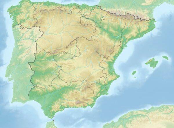 Reliefkarte Spanien