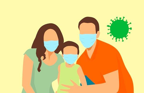 Famile mit Masken